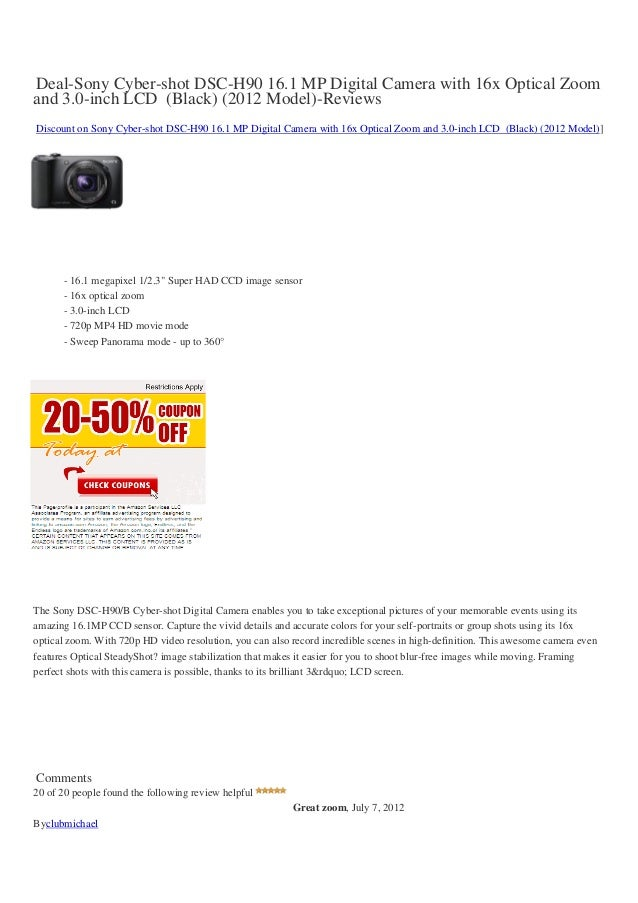 Deal-Sony Cyber-shot DSC-H90 16.1 MP Digital Camera with 16x Optical Zoomand 3.0-inch LCD (Black) (2012 Model)-ReviewsDisc...