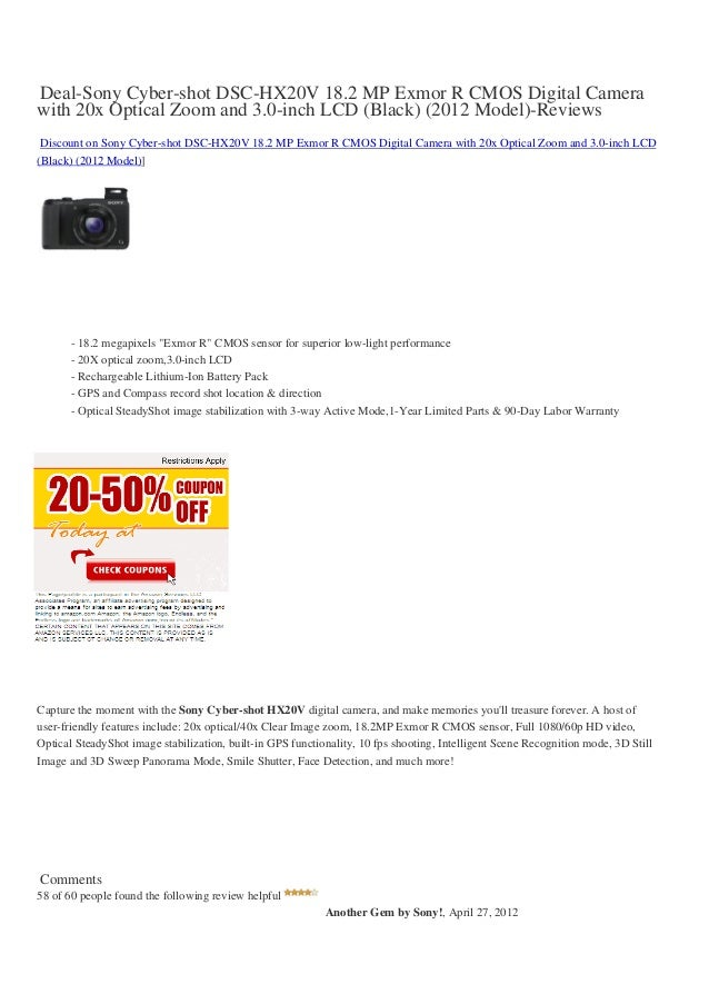 Deal-Sony Cyber-shot DSC-HX20V 18.2 MP Exmor R CMOS Digital Camerawith 20x Optical Zoom and 3.0-inch LCD (Black) (2012 Mod...