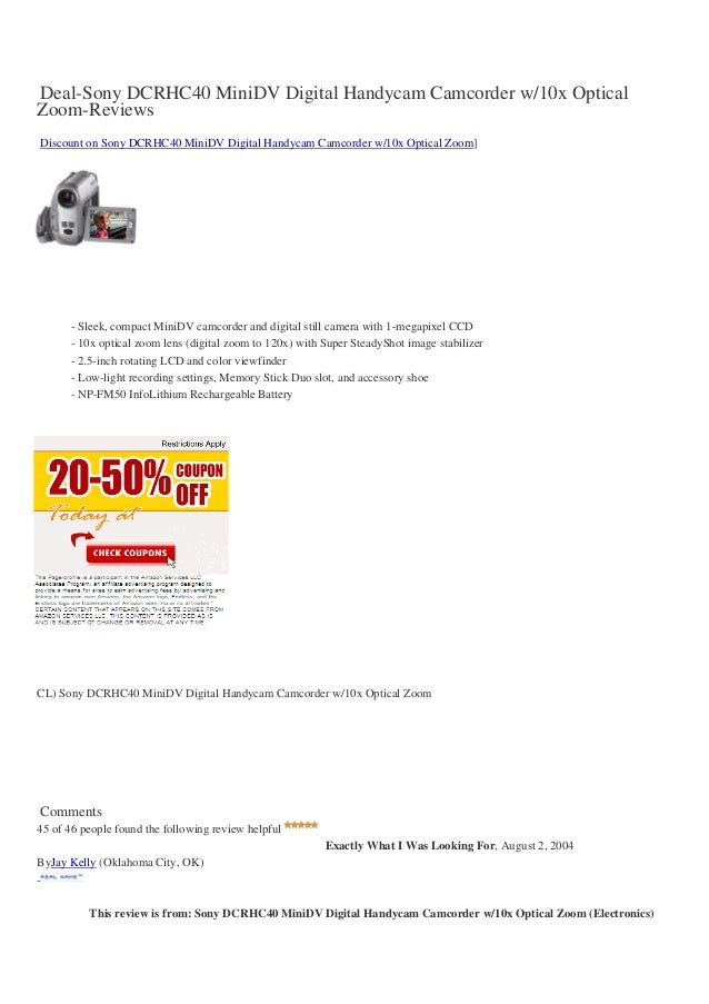 Deal-Sony DCRHC40 MiniDV Digital Handycam Camcorder w/10x OpticalZoom-ReviewsDiscount on Sony DCRHC40 MiniDV Digital Handy...