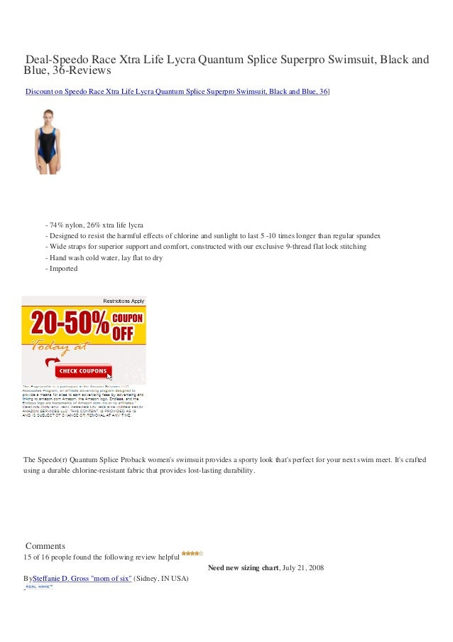 Deal-Speedo Race Xtra Life Lycra Quantum Splice Superpro Swimsuit, Black andBlue, 36-ReviewsDiscount on Speedo Race Xtra L...