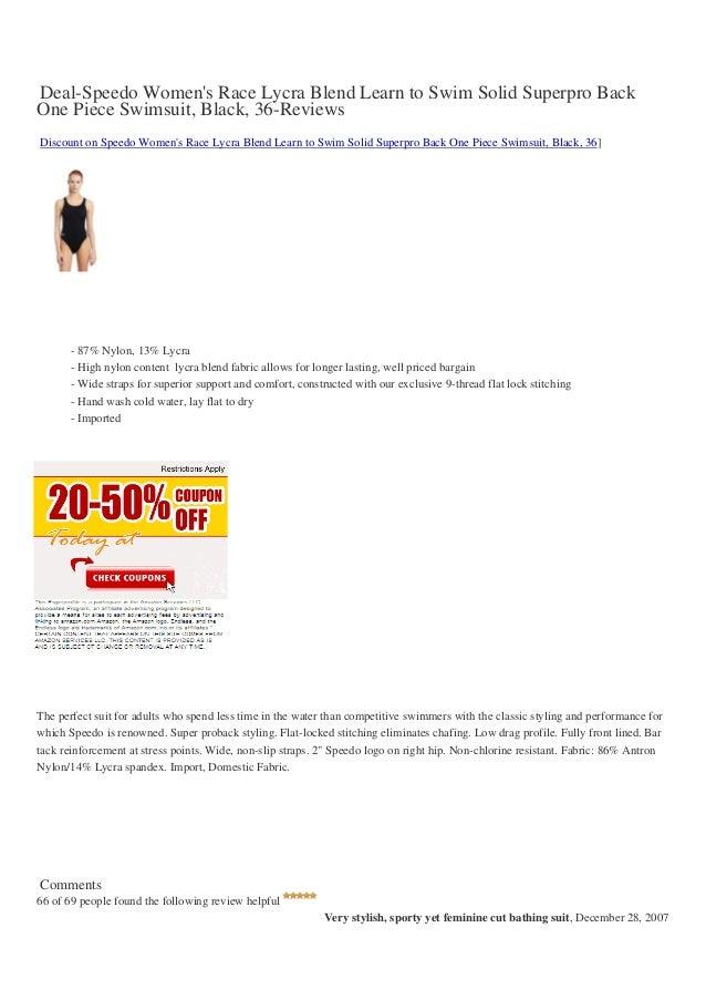 Deal-Speedo Womens Race Lycra Blend Learn to Swim Solid Superpro BackOne Piece Swimsuit, Black, 36-ReviewsDiscount on Spee...