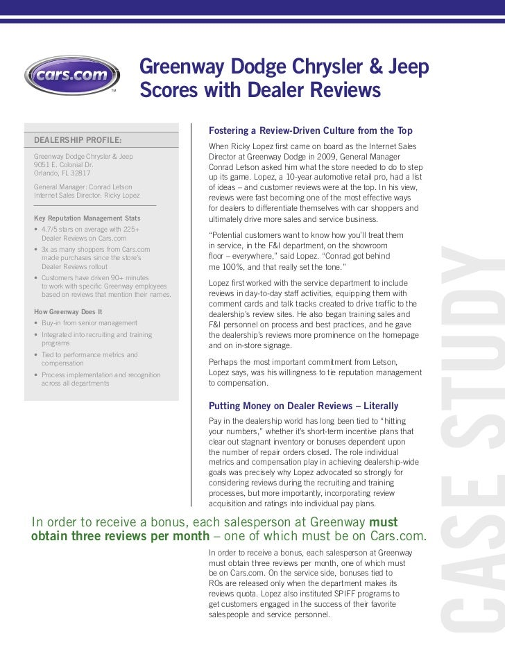 Greenway Dodge Scores Big With Dealer Reviews