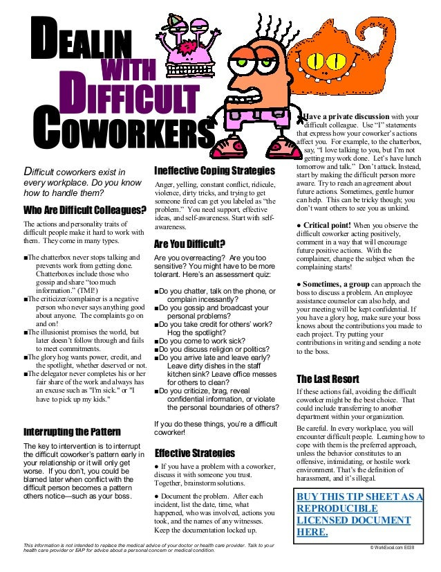 Dealing with Difficult Workers and Difficult People at Work