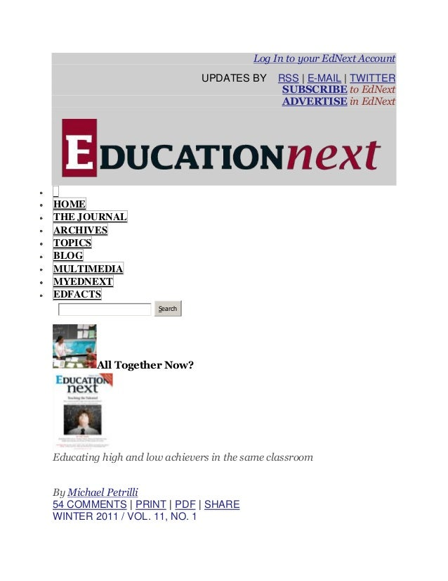 Log In to your EdNext Account                              UPDATES BY      RSS | E-MAIL | TWITTER                         ...
