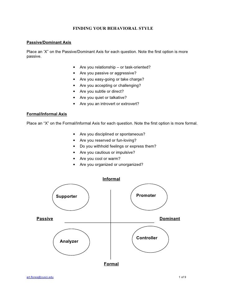 """FINDING YOUR BEHAVIORAL STYLE   Passive/Dominant Axis  Place an 'X"""" on the Passive/Dominant Axis for each question. Note t..."""