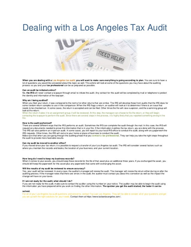 dealing with a los angeles tax audit