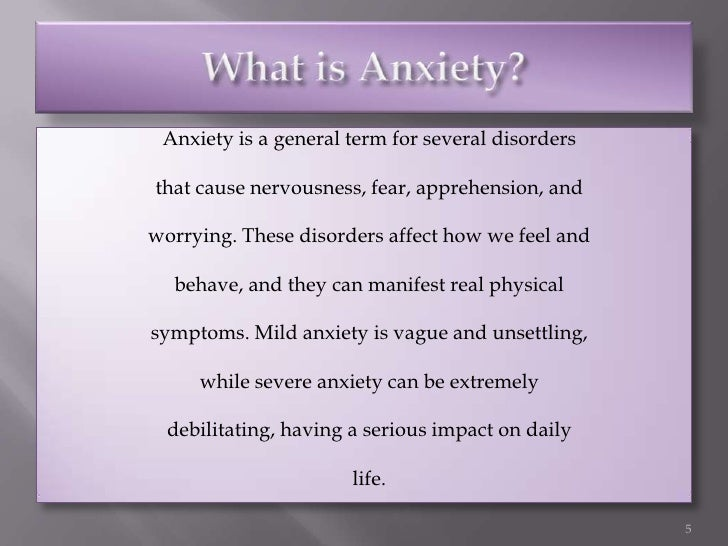 the description of anxiety disorder and its manifestation