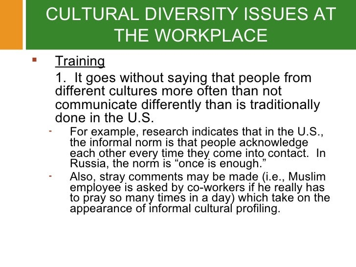 Examples of Diversity Problems in the Workplace