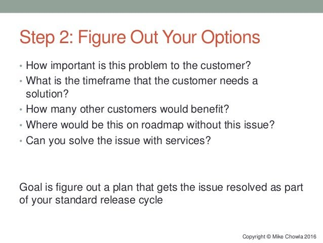 Step 2: Figure Out Your Options • How important is this problem to the customer? • What is the timeframe that the customer...