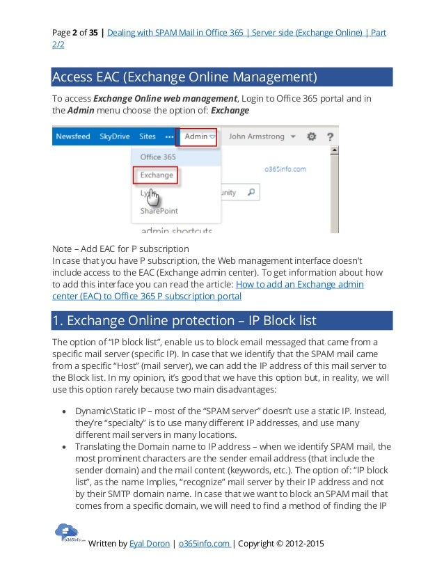 Dealing with spam mail in office 365   server side -exchange online- - part 2 of 2 Slide 2