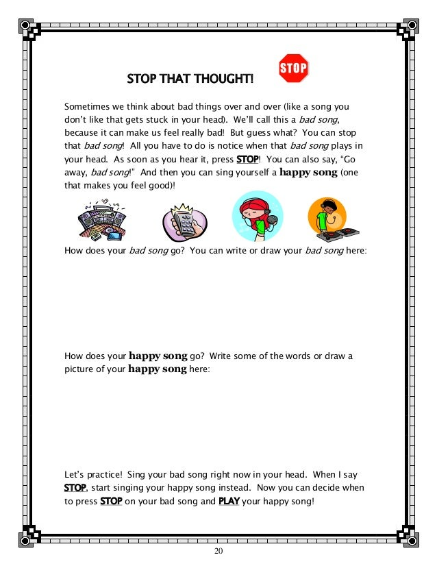 Dealing with trauma a tfcbt workbook for teens – Thought Stopping Worksheet