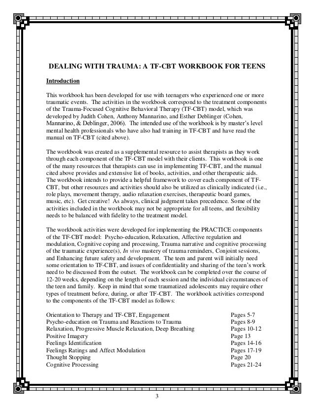 Dealing with trauma a tfcbt workbook for teens – Trauma Focused Cbt Worksheets