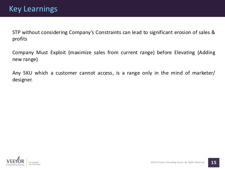 Key LearningsSTP without considering Company's Constraints can lead to significant erosion of sales &profitsCompany Must E...