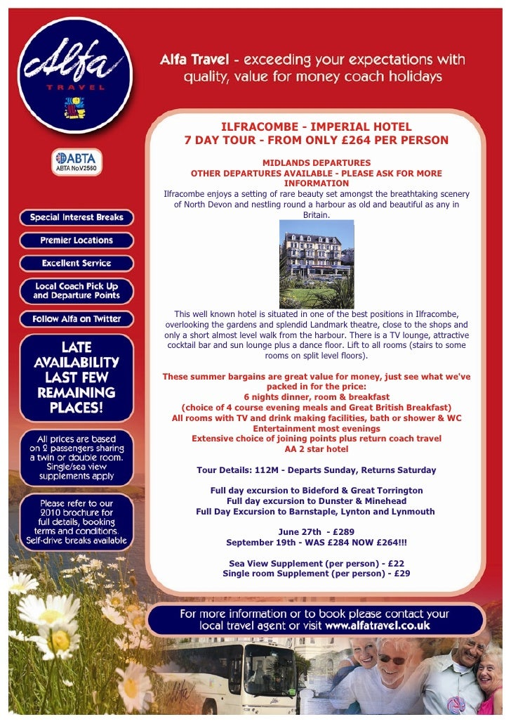 ILFRACOMBE - IMPERIAL HOTEL      7 DAY TOUR - FROM ONLY £264 PER PERSON                           MIDLANDS DEPARTURES     ...