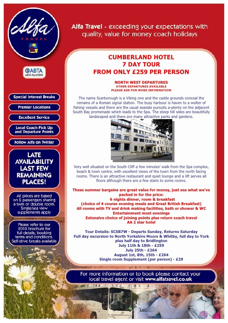 CUMBERLAND HOTEL                    7 DAY TOUR             FROM ONLY £259 PER PERSON                         NORTH WEST DE...