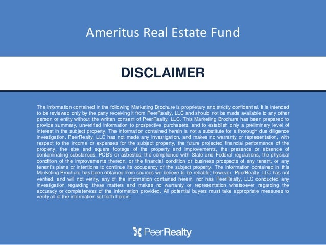Ameritus real estate fund webinar for Property disclaimer template