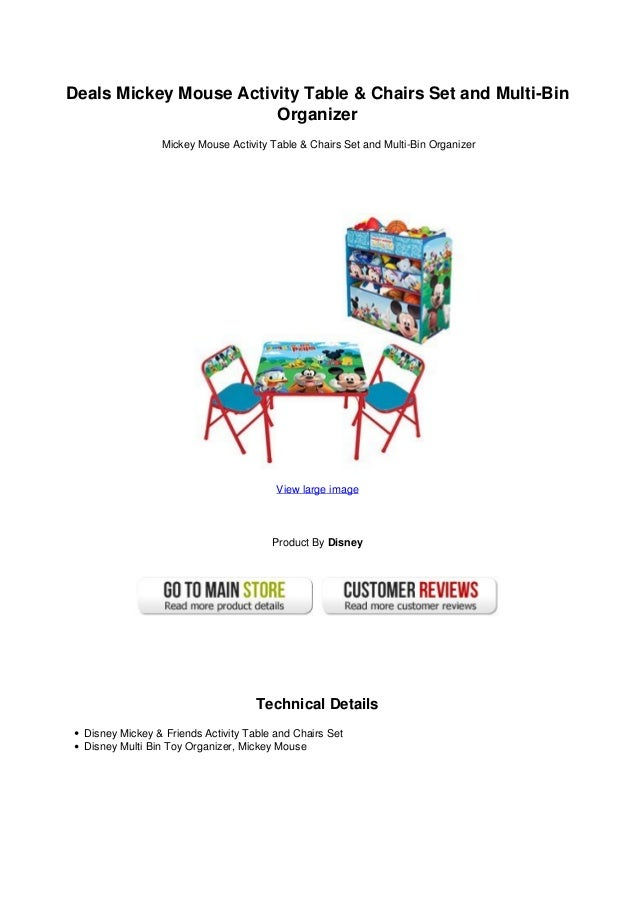 Deals Mickey Mouse Activity Table Chairs Set And Multi Bin