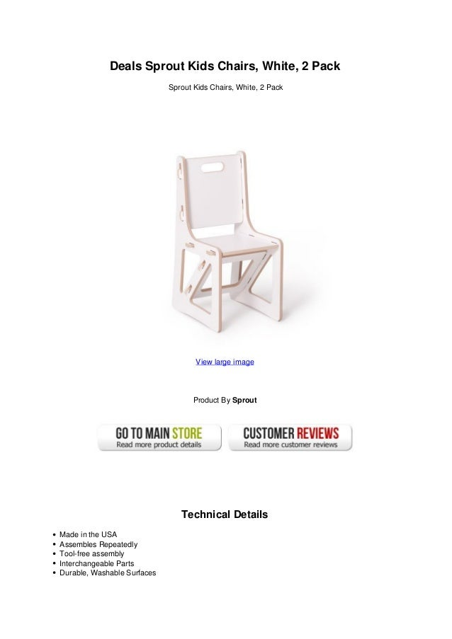 Deals Sprout Kids Chairs, White, 2 PackSprout Kids Chairs, White, ...