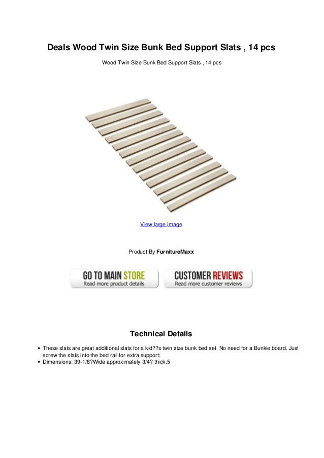 Deals Wood Twin Size Bunk Bed Support Slats 14 Pcs