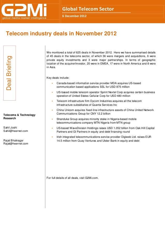 Global Telecom Sector                                     6 December 2012 Telecom industry deals in November 2012         ...