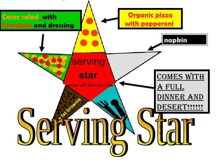 Serving Star Cesar salad   with   tomatoes   and  dressing   Organic pizza with pepperoni   Comes with a full dinner and d...