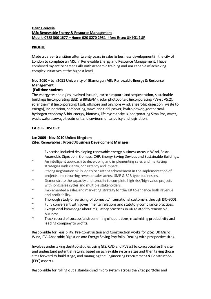 Dean GouveiaMSc Renewable Energy & Resource ManagementMobile 0788 300 1677 – Home 020 8270 2931 Ilford Essex UK IG1 2UPPRO...