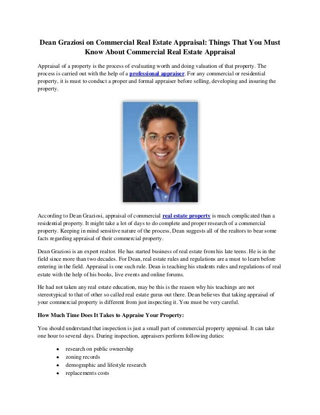 Commercial Property Appraisal : Dean graziosi on commercial real estate appraisal things