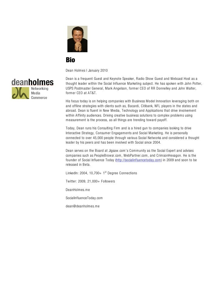 Bio Dean Holmes l January 2010  Dean is a frequent Guest and Keynote Speaker, Radio Show Guest and Webcast Host as a thoug...