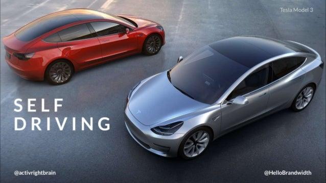 Tesla Model 3  / /as  ,7. r;   /  E'; /.1 '  SELF DRIVING     @activrightbrain @HelloBrandwidth