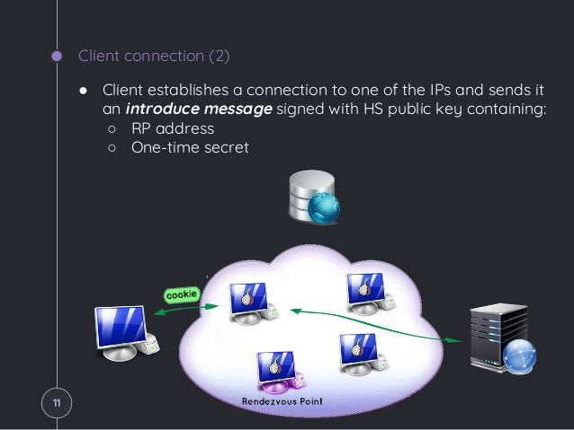 Client connection (2) ● Client establishes a connection to one of the IPs and sends it an introduce message signed with HS...