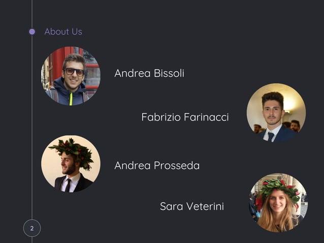 About Us Andrea Bissoli Fabrizio Farinacci Andrea Prosseda Sara Veterini 2