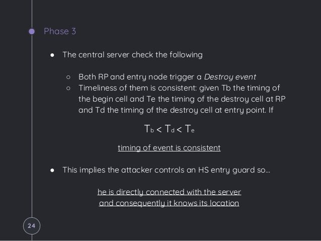 Phase 3 ● The central server check the following ○ Both RP and entry node trigger a Destroy event ○ Timeliness of them is ...