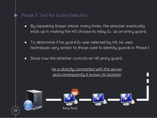 Phase 3: Test for Guard Selection ● By repeating Sniper attack many times, the attacker eventually ends up in making the H...