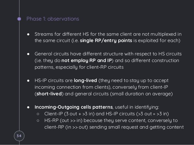 Phase 1: observations ● Streams for different HS for the same client are not multiplexed in the same circuit (i.e. single ...