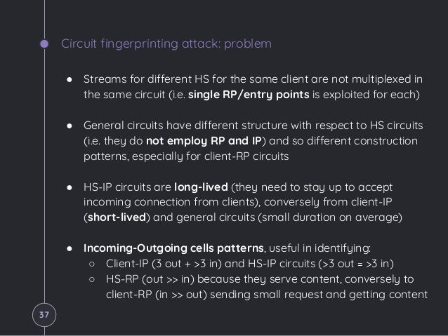 Circuit fingerprinting attack: problem ● Streams for different HS for the same client are not multiplexed in the same circ...