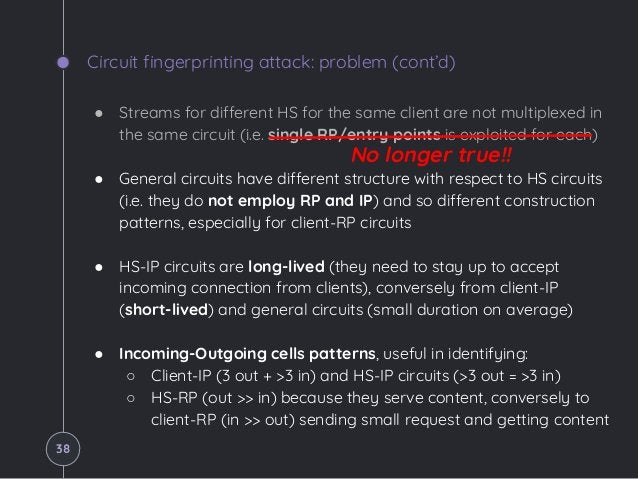 Circuit fingerprinting attack: problem (cont'd) ● Streams for different HS for the same client are not multiplexed in the ...