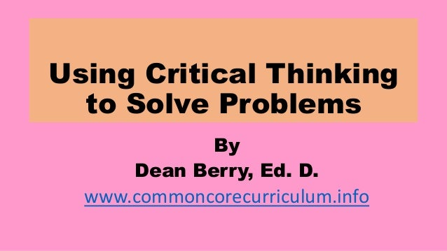 critical thinking and problem solving pdf