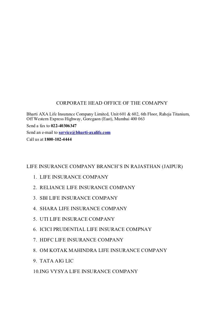 Project on insurance comapnies - Bharti axa life insurance head office ...
