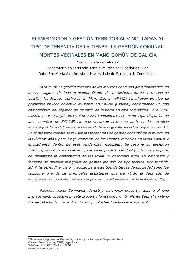 PLANIFICACIÓN Y GESTIÓN TERRITORIAL VINCULADAS AL TIPO DE TENENCIA DE LA TIERRA: LA GESTIÓN COMUNAL. MONTES VECINALES EN M...