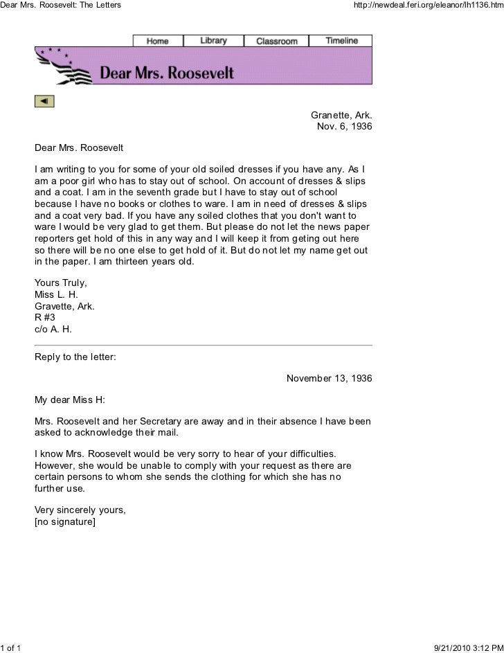Dear Mrs. Roosevelt: The Letters                                                   http://newdeal.feri.org/eleanor/lh1136....