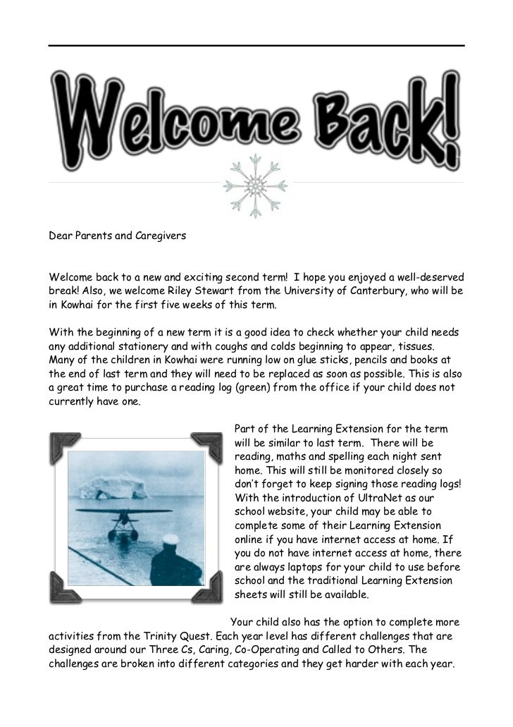 Dear Parents and CaregiversWelcome back to a new and exciting second term! I hope you enjoyed a well-deservedbreak! Also, ...