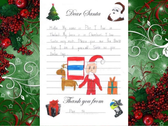 Letters to Santa from 1st Grade Thai Students Slide 2