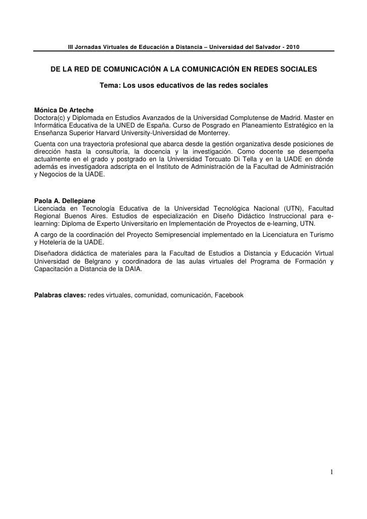 III Jornadas Virtuales de Educación a Distancia – Universidad del Salvador - 2010        DE LA RED DE COMUNICACIÓN A LA CO...