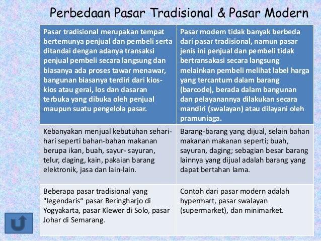 Perbedaan Pasar Tradisional & Pasar Modern Pasar tradisional merupakan tempat bertemunya penjual dan pembeli serta ditanda...