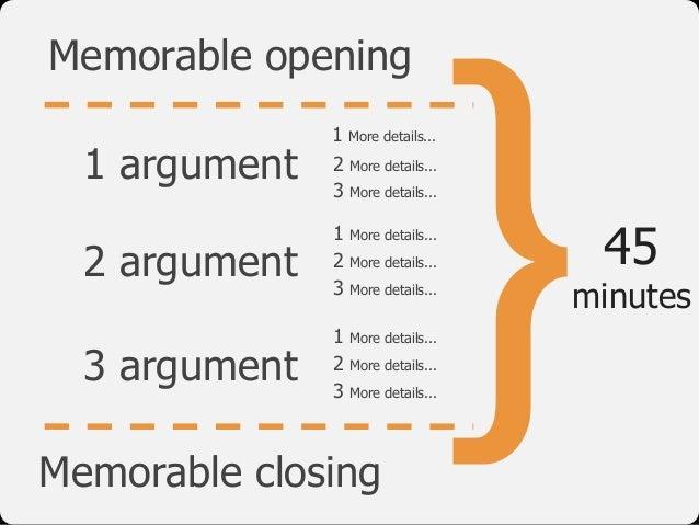 }45 minutes 1 argument 2 argument 3 argument Memorable opening Memorable closing 1 More details... 2 More details... 3 Mor...