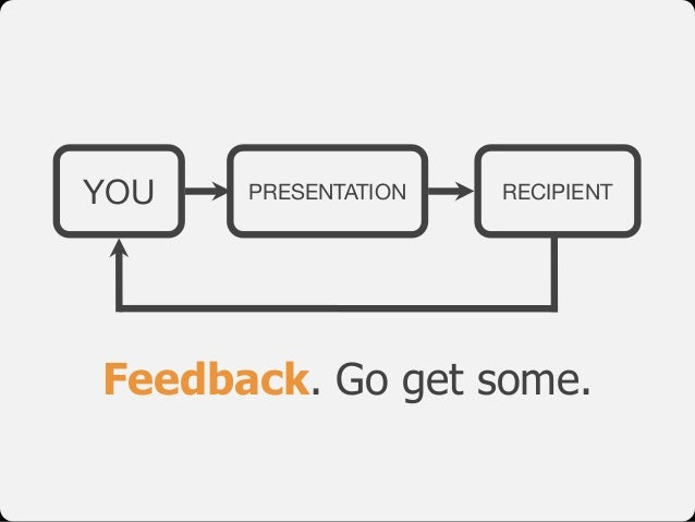 YOU PRESENTATION RECIPIENT Feedback. Go get some.