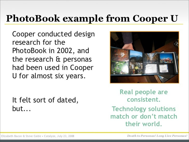 PhotoBook example from Cooper U         Cooper conducted design         research for the         PhotoBook in 2002, and   ...