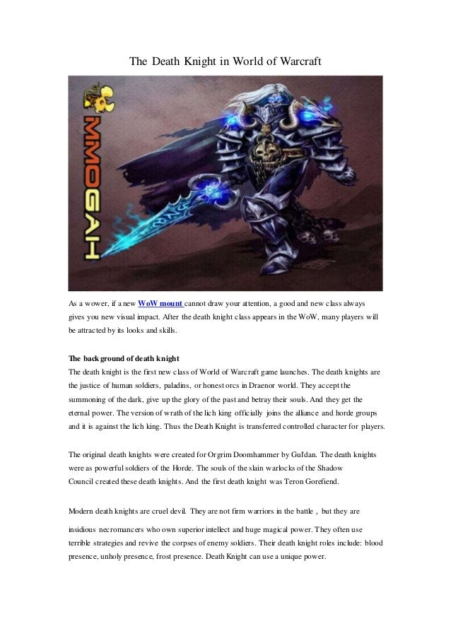 Death Knight In World Of Warcraft