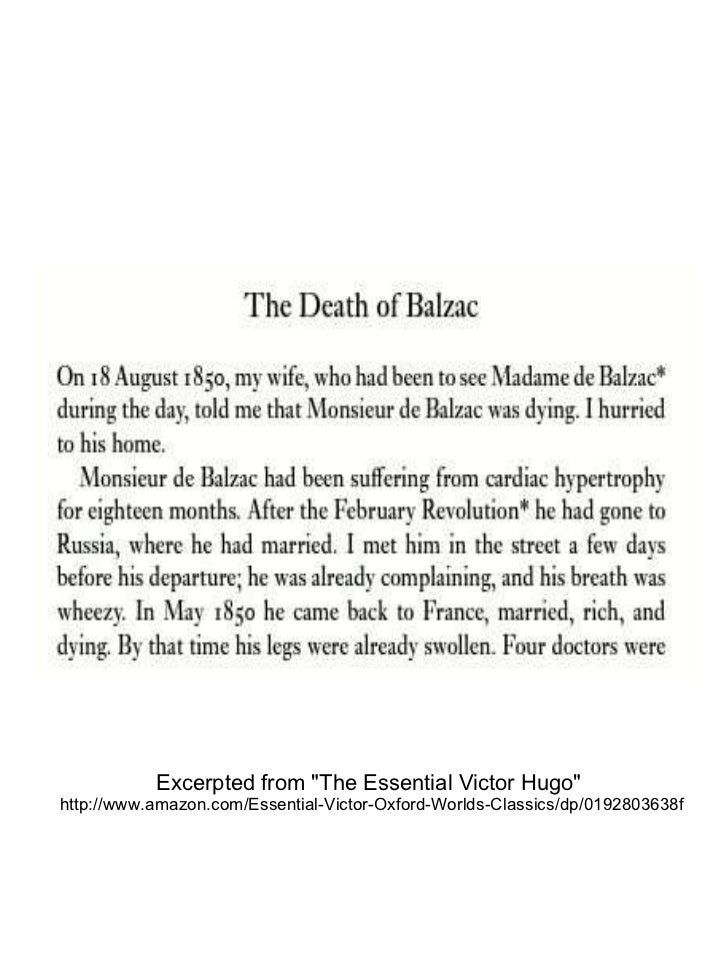 """Excerpted from """"The Essential Victor Hugo""""  http://www.amazon.com/Essential-Victor-Oxford-Worlds-Classics/dp/019..."""