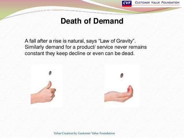 """Death of Demand A fall after a rise is natural, says """"Law of Gravity"""". Similarly demand for a product/ service never remai..."""